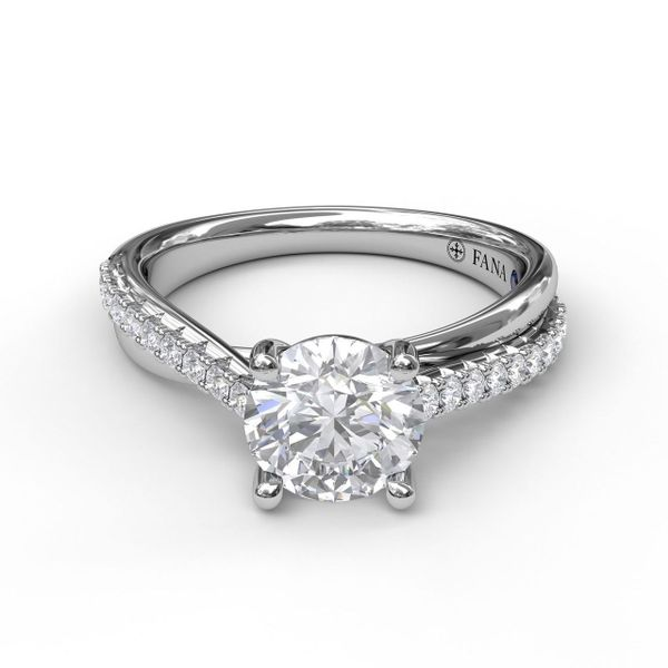 White Gold Round Cut Solitaire With Criss Cross Band