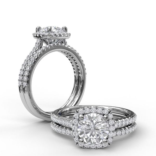 White Gold Delicate Cushion Halo Engagement Ring With Pave Shank