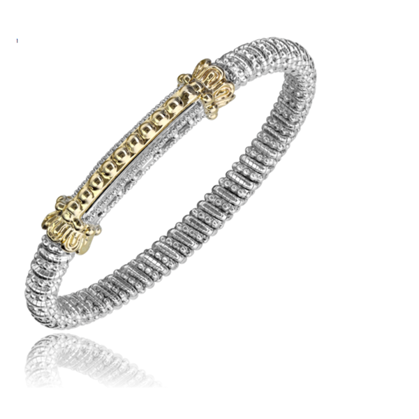 14 kt Yellow Gold and Sterling Silver Bar Bracelet