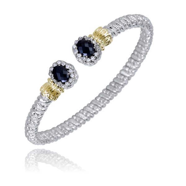 Sterling Silver and 14 kt Yellow Gold Bracelet  by Alwand Vahan with Black Onyx and Diamonds
