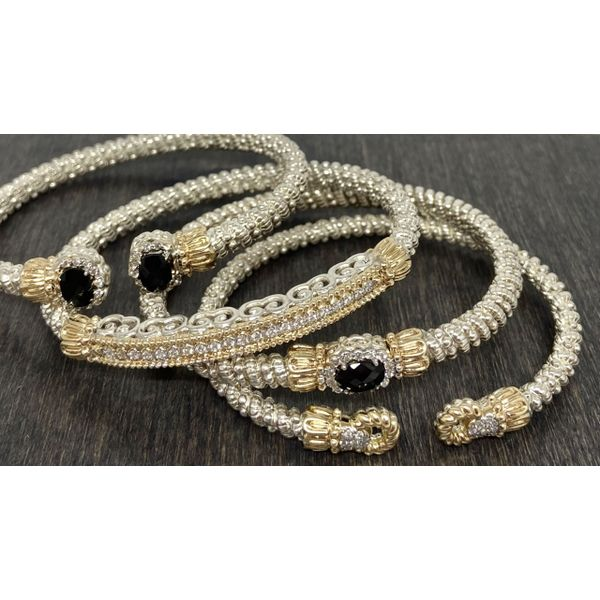 Sterling Silver and 14 kt Yellow Gold Bracelet  by Alwand Vahan with Black Onyx and Diamonds Image 2 Parris Jewelers Hattiesburg, MS