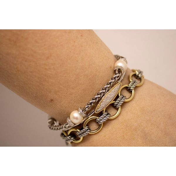 Sterling Silver Freshwater Pearl Station Bracelet Image 2 Parris Jewelers Hattiesburg, MS
