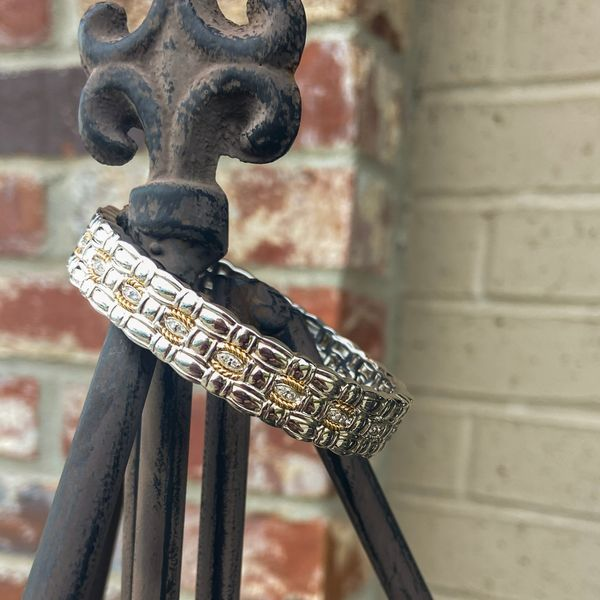 Sterling Silver and 14 kt Yellow Gold Hinged Bangle Bracelet Image 2 Parris Jewelers Hattiesburg, MS