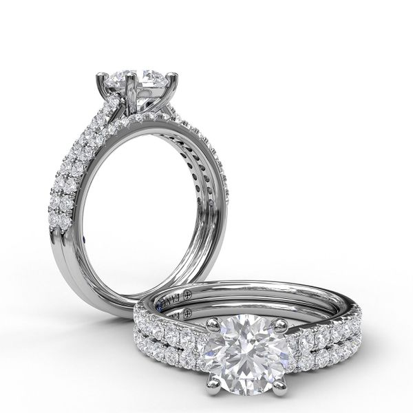 White Gold Delicate Classic Engagement Ring with Delicate Side Detail