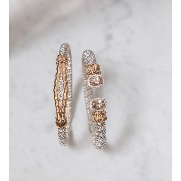 Sterling Silver 14 kt Yellow Gold Morganite and Diamond Bracelet by Vahan Image 2 Parris Jewelers Hattiesburg, MS