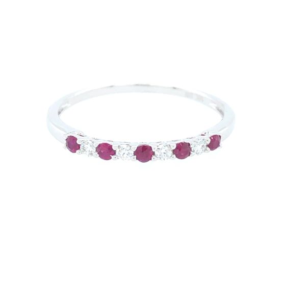 14 kt White Gold Ruby and Diamond Band