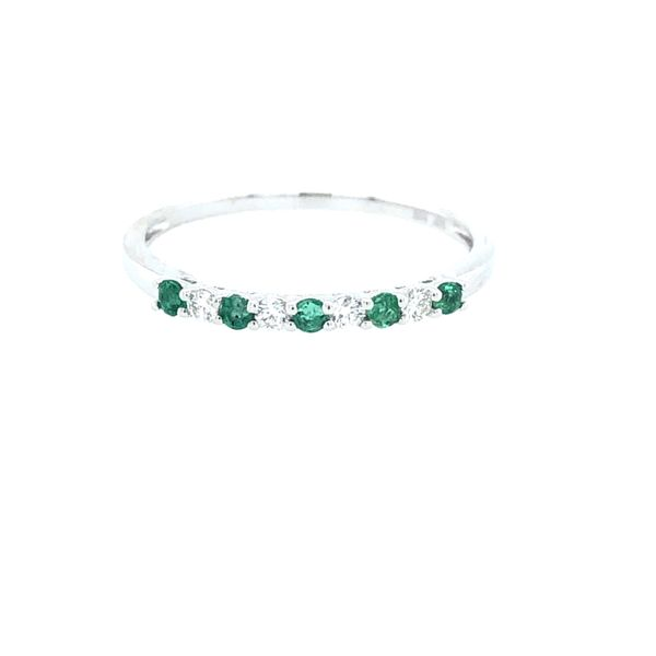 14 kt White Gold Emerald and Diamond Stackable Band