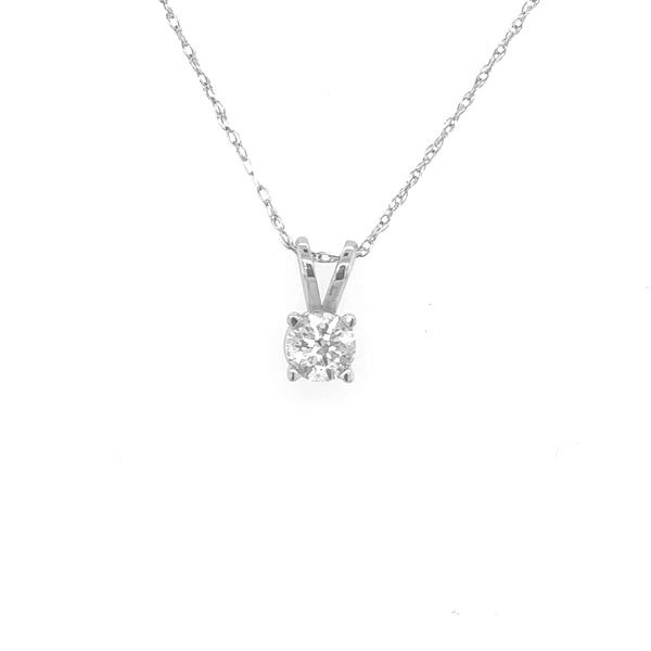 14 kt White Gold Diamond Solitaire Necklace