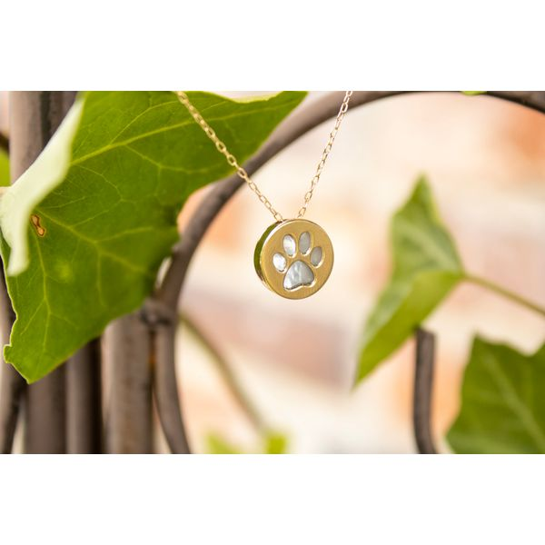 14 kt Yellow Gold  Paw Print Necklace  Image 2 Parris Jewelers Hattiesburg, MS