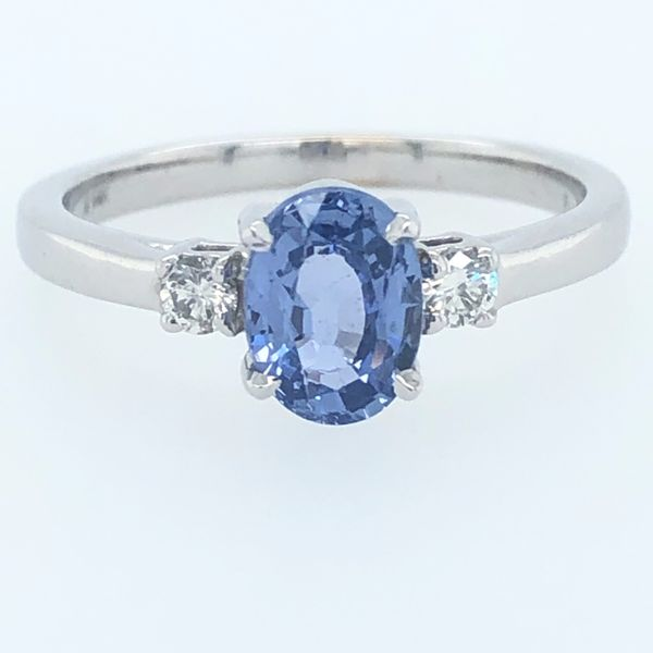 14 kt White Gold Custom Sapphire Ring with Diamond Accents