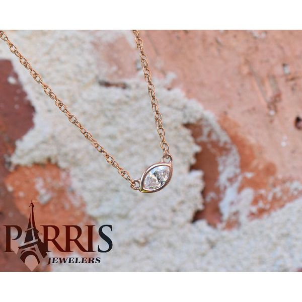 14 kt Rose Gold Custom Marquise Diamond Necklace  Image 2 Parris Jewelers Hattiesburg, MS