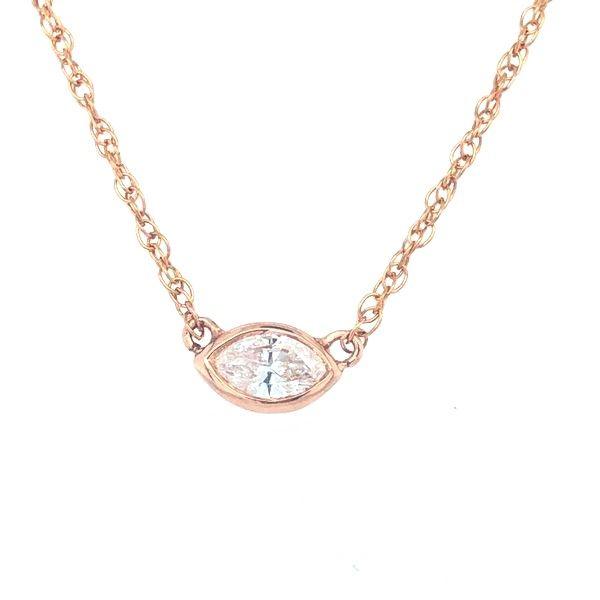 14 kt Rose Gold Custom Marquise Diamond Necklace
