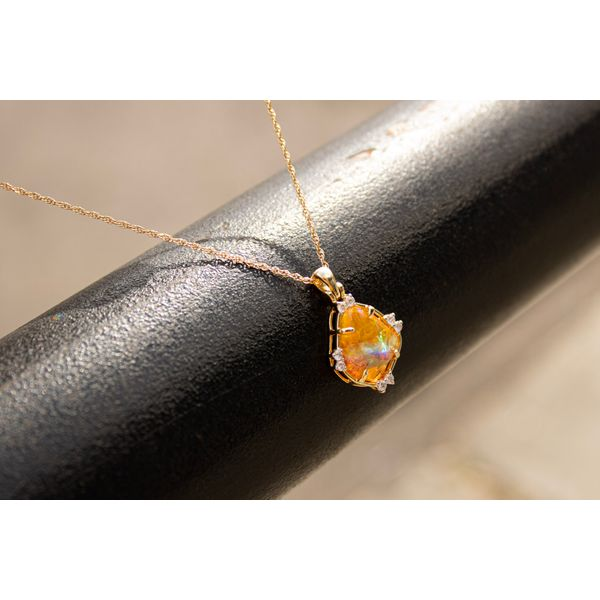 Mexican Opal Pendant with Chain Image 2 Parris Jewelers Hattiesburg, MS