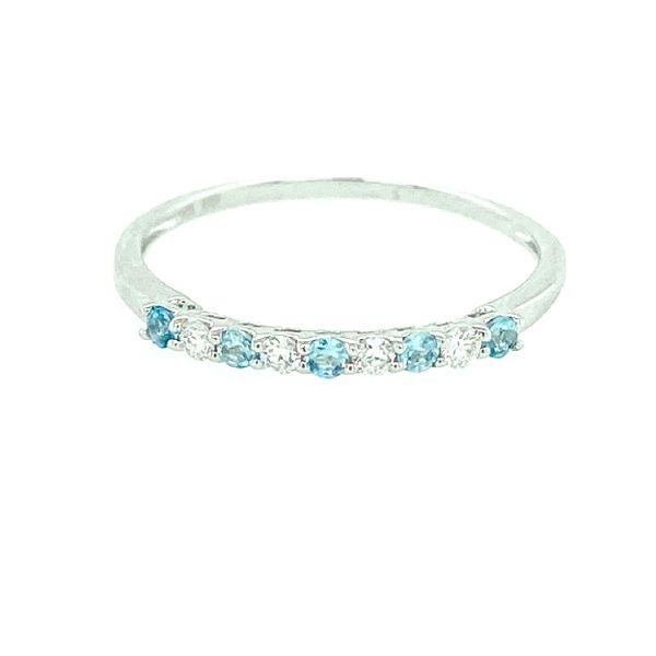 14 kt White Gold Blue Topaz Stackable Ring