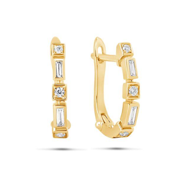 14 kt Yellow Gold Diamond Hoop Earrings