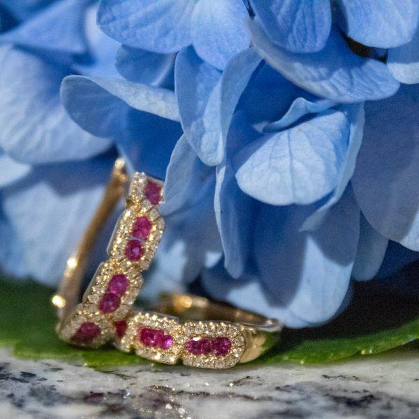 14 kt Yellow Gold Ruby and Diamond Hoop Earrings  Image 2 Parris Jewelers Hattiesburg, MS