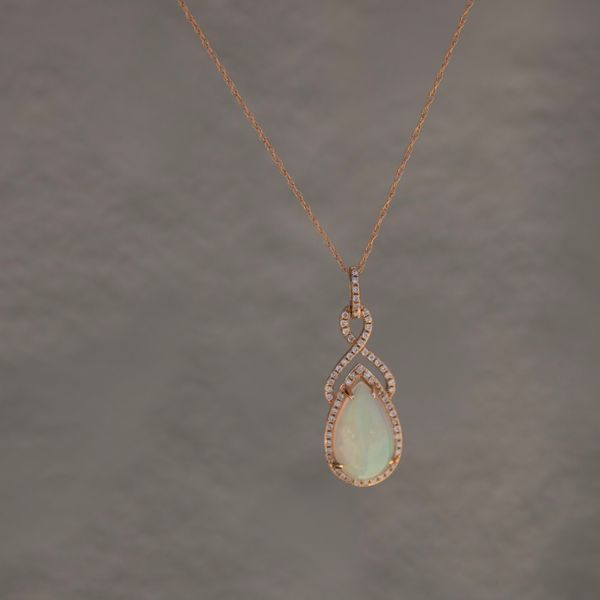 14 kt Rose Gold Opal and Diamond Necklace Image 2 Parris Jewelers Hattiesburg, MS