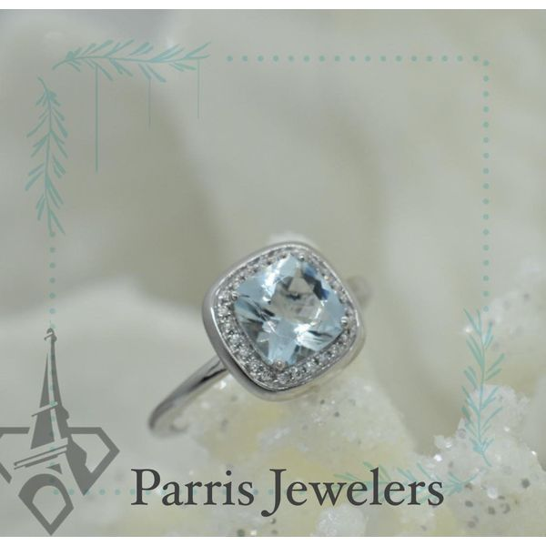 14 kt White Gold Aquamarine and Diamond  Ring Image 2 Parris Jewelers Hattiesburg, MS