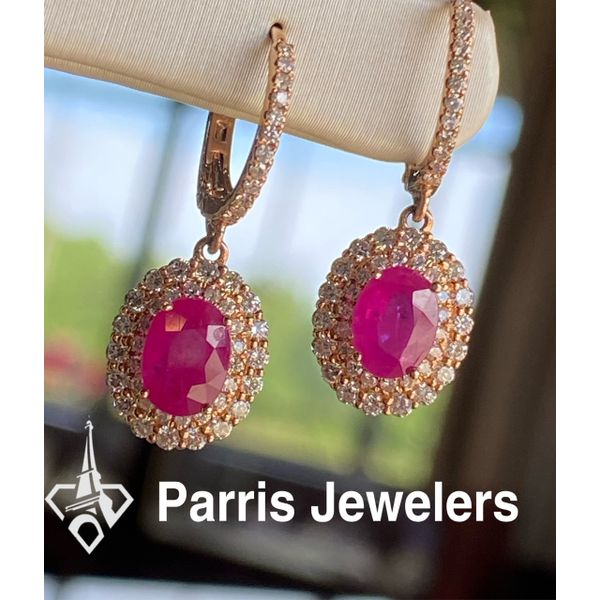 14 kt Rose Gold Ruby and Diamond  Dangle Earrings Image 2 Parris Jewelers Hattiesburg, MS