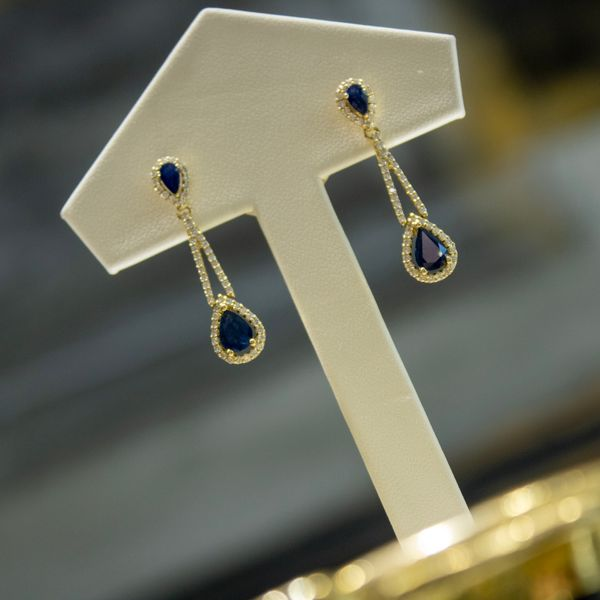 14 kt Yellow Gold Dangle Sapphire Earrings  Image 2 Parris Jewelers Hattiesburg, MS