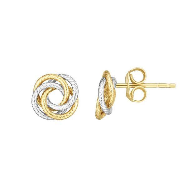 14 kt Two-Tone Stud Earrings