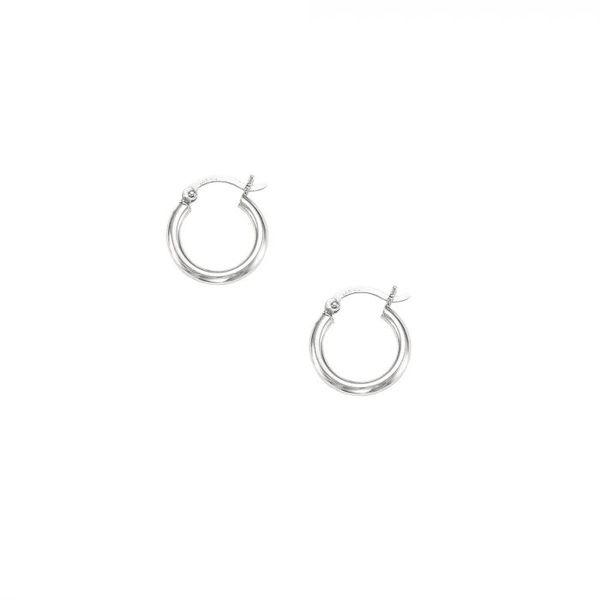 14 kt White Gold Petite Hoop Earrings