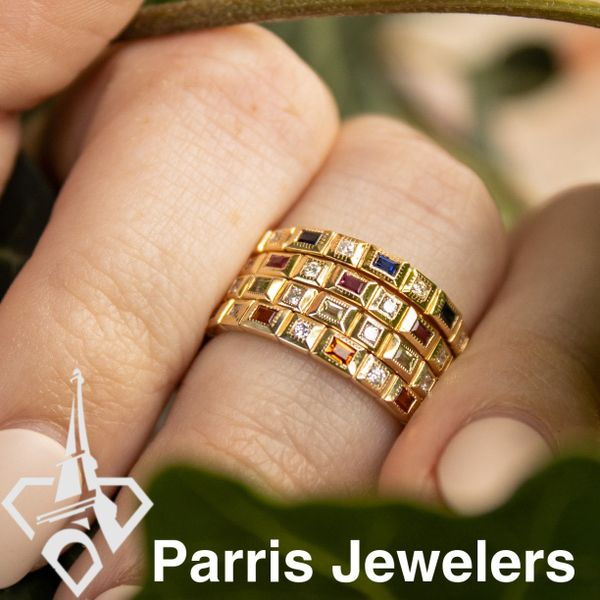 10 kt Yellow Gold Citrine and Diamond Stackable Band  Image 2 Parris Jewelers Hattiesburg, MS