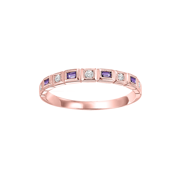10K Rose Gold Stackable Amethyst Band Parris Jewelers Hattiesburg, MS