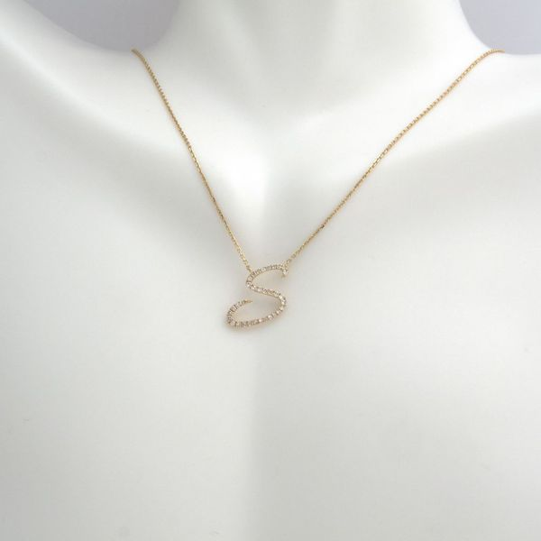 14 kt Yellow Gold Diamond Initial Necklace Image 2 Parris Jewelers Hattiesburg, MS