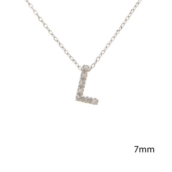 14 kt White Gold Initial Single Micro Pave Diamond Necklace
