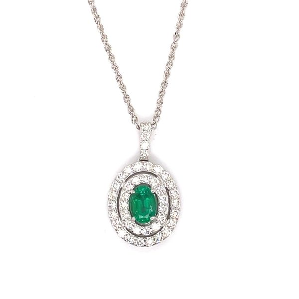 14 kt White Gold Emerald and Diamond Necklace