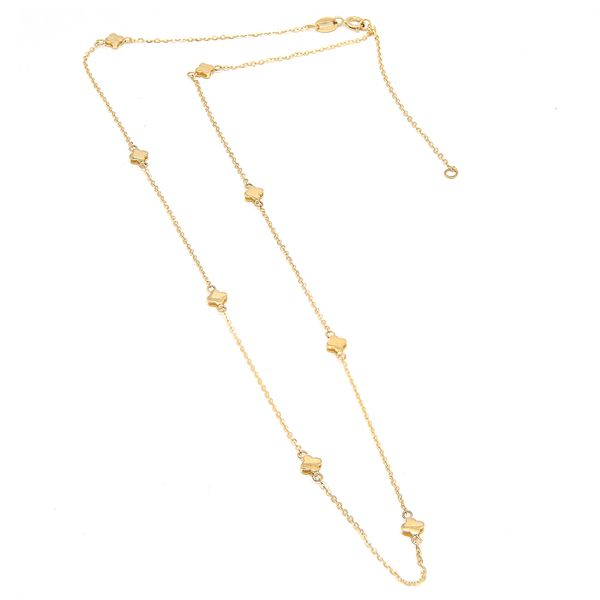 14 kt yellow gold clover necklace