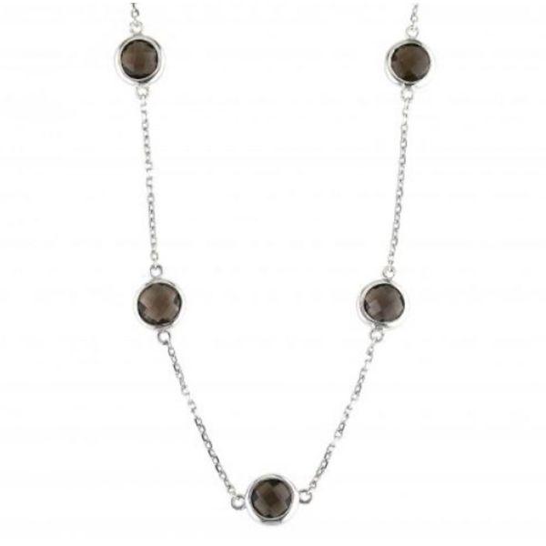 Sterling silver smokey topaz necklace