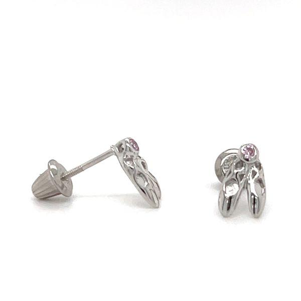 Sterling Silver Ballerina Slipper Earrings with Pink CZ