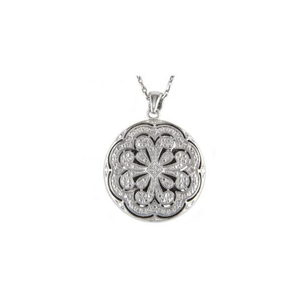 Sterling Silver and diamond engravable round locket with chain.