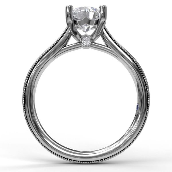 White Gold Round Cut Solitaire With Milgrain-Edged Band