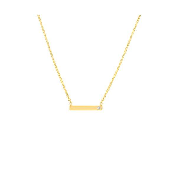 14 kt Yellow Gold Petite Diamond Bezel Necklace