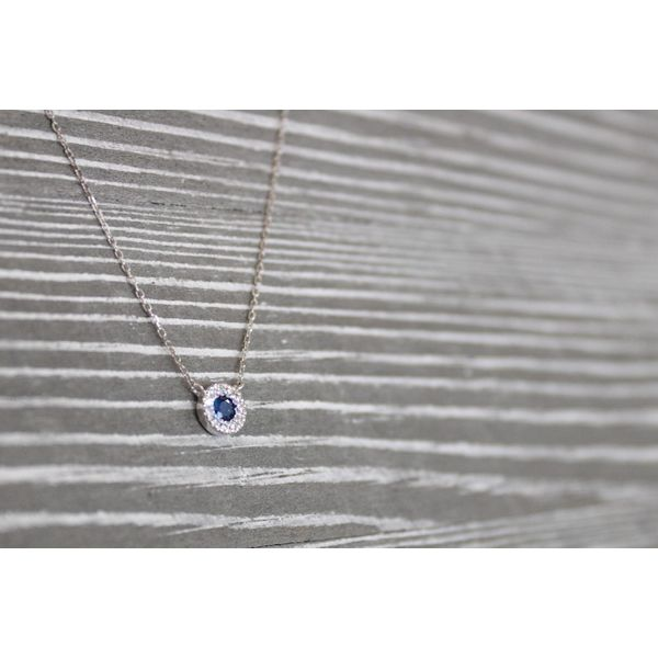 14 kt White Gold Sapphire and Diamond Necklace  Image 2 Parris Jewelers Hattiesburg, MS