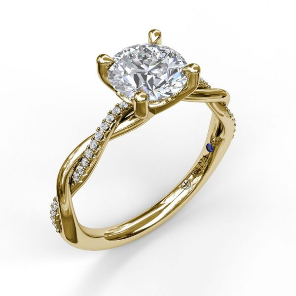 14 kt Yellow Gold Twist Engagement Ring with Matching Band Available