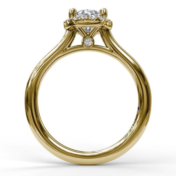 Yellow Gold Oval Cut Halo Engagement Ring