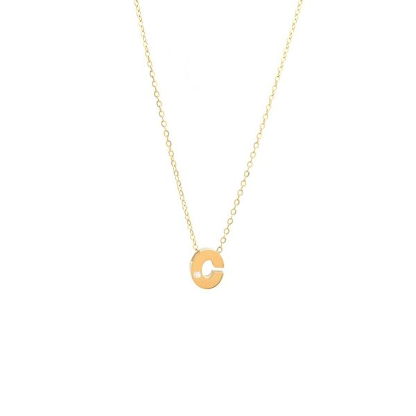 14 kt Yellow Gold C Initial with Diamond Accent