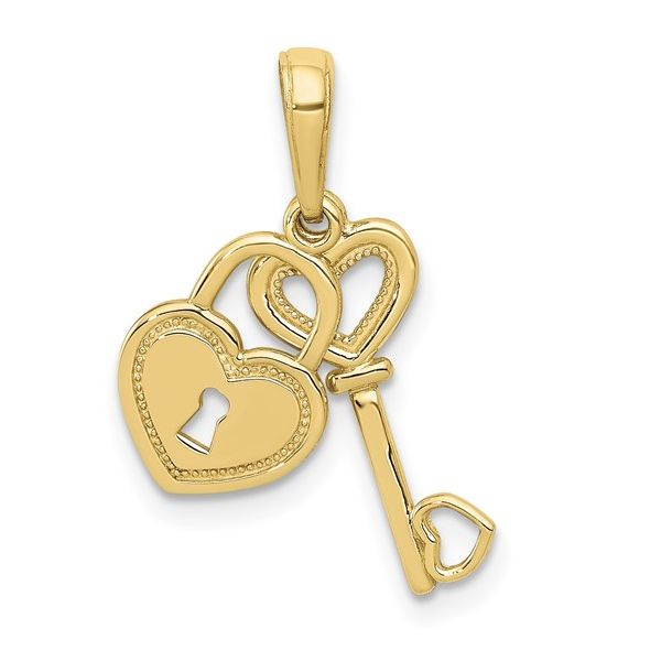 10 kt Yellow Gold Heart-Key-Lock Necklace