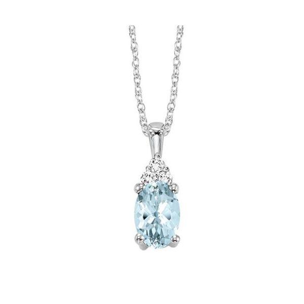 10 kt White Gold Aquamarine and Diamond Necklace