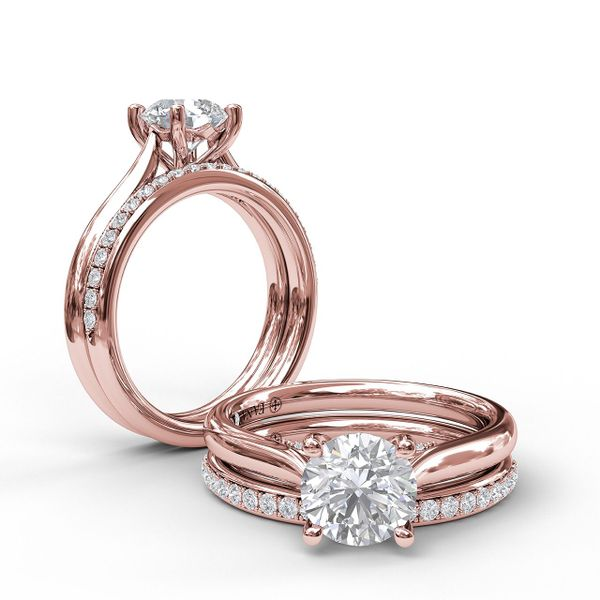 Rose Gold Round Cut Solitaire With Decorated Bridge