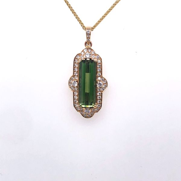 Green Tourmaline Necklace with Diamond