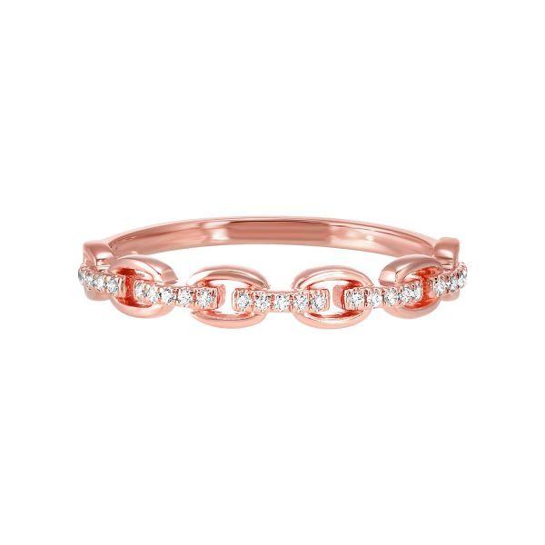 14 kt Rose Gold Diamond Link Band