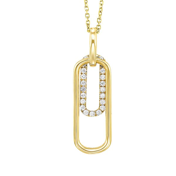 10 kt Yellow Gold Paper Clip Pendant with Diamonds