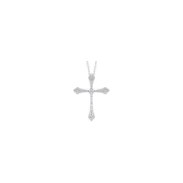 14 kt White Gold Petite Diamond Cross Necklace  Parris Jewelers Hattiesburg, MS