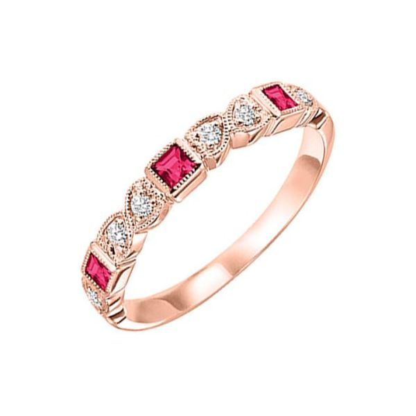 10 kt Rose Gold Ruby and Diamond Stackable Band