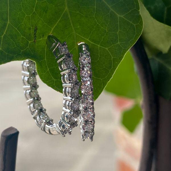 14 kt White Gold Diamond Hoop Earrings Image 2 Parris Jewelers Hattiesburg, MS